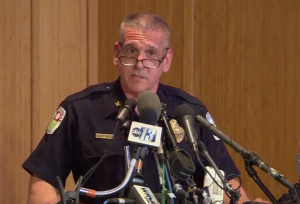 Charlottesville Police Chief Tim Longo at the March 23 press conference. Courtesy: NBC News.